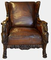 19th Century Carved Leather Armchair (2 of 5)
