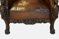 19th Century Carved Leather Armchair (4 of 5)