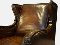 19th Century Carved Leather Armchair (5 of 5)
