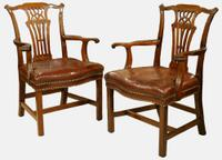 Pair of 18th Century Mahogany Carver Arm Chairs