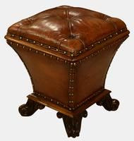 19th Century Mahogany & Leather Ottoman