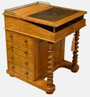 Satinwood Davenport with Original Leather c.1840 (9 of 10)