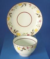 A & E Keeling Tea Bowl & Saucer, Pattern 345