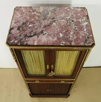 Slender Marble Topped French Mahogany Cabinet c.1890 (3 of 14)