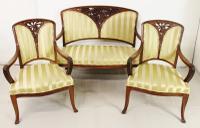 French Art Nouveau Walnut 3 Piece Salon Suite