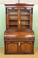 Large Victorian Mahogany Cylinder Bureau Bookcase (2 of 21)