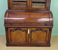 Large Victorian Mahogany Cylinder Bureau Bookcase (7 of 21)