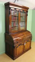 Large Victorian Mahogany Cylinder Bureau Bookcase (8 of 21)