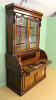 Large Victorian Mahogany Cylinder Bureau Bookcase (10 of 21)