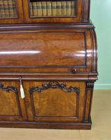 Large Victorian Mahogany Cylinder Bureau Bookcase (11 of 21)