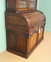 Large Victorian Mahogany Cylinder Bureau Bookcase (14 of 21)