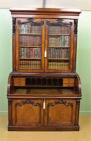 Large Victorian Mahogany Cylinder Bureau Bookcase (15 of 21)