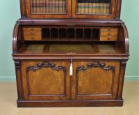 Large Victorian Mahogany Cylinder Bureau Bookcase (16 of 21)