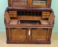 Large Victorian Mahogany Cylinder Bureau Bookcase (17 of 21)