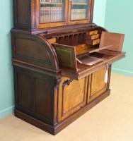 Large Victorian Mahogany Cylinder Bureau Bookcase (18 of 21)
