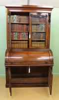 Large Victorian Mahogany Cylinder Bureau Bookcase (20 of 21)