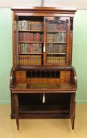 Large Victorian Mahogany Cylinder Bureau Bookcase (21 of 21)