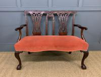 Chippendale Design Mahogany Settee Bench c.1900 (4 of 12)