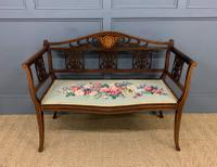 Edwardian Inlaid Mahogany Bench (2 of 10)