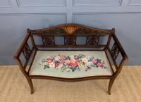 Edwardian Inlaid Mahogany Bench (4 of 10)