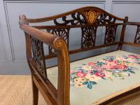 Edwardian Inlaid Mahogany Bench (7 of 10)