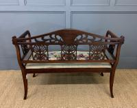 Edwardian Inlaid Mahogany Bench (9 of 10)