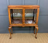Queen Anne Style Burr Walnut Display Cabinet c.1920 (3 of 14)
