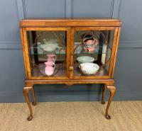 Queen Anne Style Burr Walnut Display Cabinet c.1920 (5 of 14)