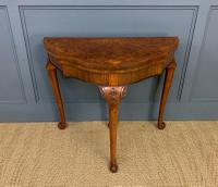 Queen Anne Style Burr Walnut Card Table c.1900 (2 of 13)