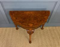 Queen Anne Style Burr Walnut Card Table c.1900 (3 of 13)