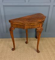 Queen Anne Style Burr Walnut Card Table c.1900