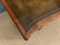 Large Burr Walnut Serpentine Fronted Pedestal Desk (4 of 14)