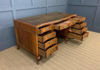 Large Burr Walnut Serpentine Fronted Pedestal Desk (10 of 14)