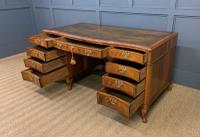 Large Burr Walnut Serpentine Fronted Pedestal Desk (11 of 14)
