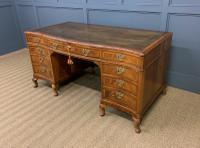 Large Burr Walnut Serpentine Fronted Pedestal Desk (12 of 14)