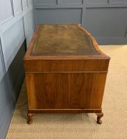 Large Burr Walnut Serpentine Fronted Pedestal Desk (13 of 14)