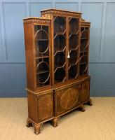 Waring & Gillow Burr Walnut Breakfront Bookcase (3 of 19)