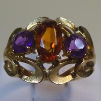 Fire Dance Fire Opal and Amethyst Ring