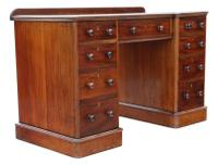 Victorian Mahogany Desk Writing Dressing Table Twin Pedestal (5 of 8)