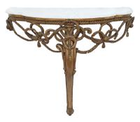 19th Century Gilt Marble Demi-Lune Console Table