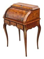 Small 19th Century Marquetry Cylinder Bureau Desk (3 of 9)