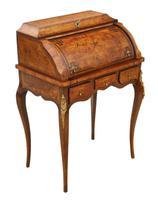 Small 19th Century Marquetry Cylinder Bureau Desk (4 of 9)