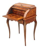 Small 19th Century Marquetry Cylinder Bureau Desk (6 of 9)