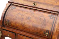 Small 19th Century Marquetry Cylinder Bureau Desk (8 of 9)
