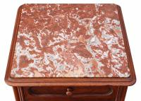 French Walnut Marble Bedside Table / Cupboard / Cabinet C.1920 (7 of 8)