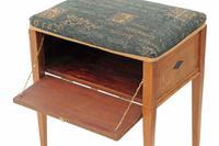 Edwardian Inlaid Walnut Piano Music Stool / Dressing Table Stool (5 of 10)