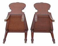 Pair of Quality Victorian Oak Hall Chairs Side Bedroom (3 of 7)