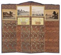 Victorian Chinoiserie Mahogany Dressing Screen C.1900