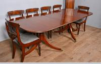 Regency Style Mahogany Twin Pillar Dining Table c.1910