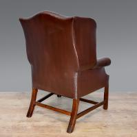 Leather Deep Buttoned Wing Chair c.1930 (4 of 5)